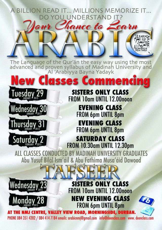 Arabic Classes 2013 in Durban