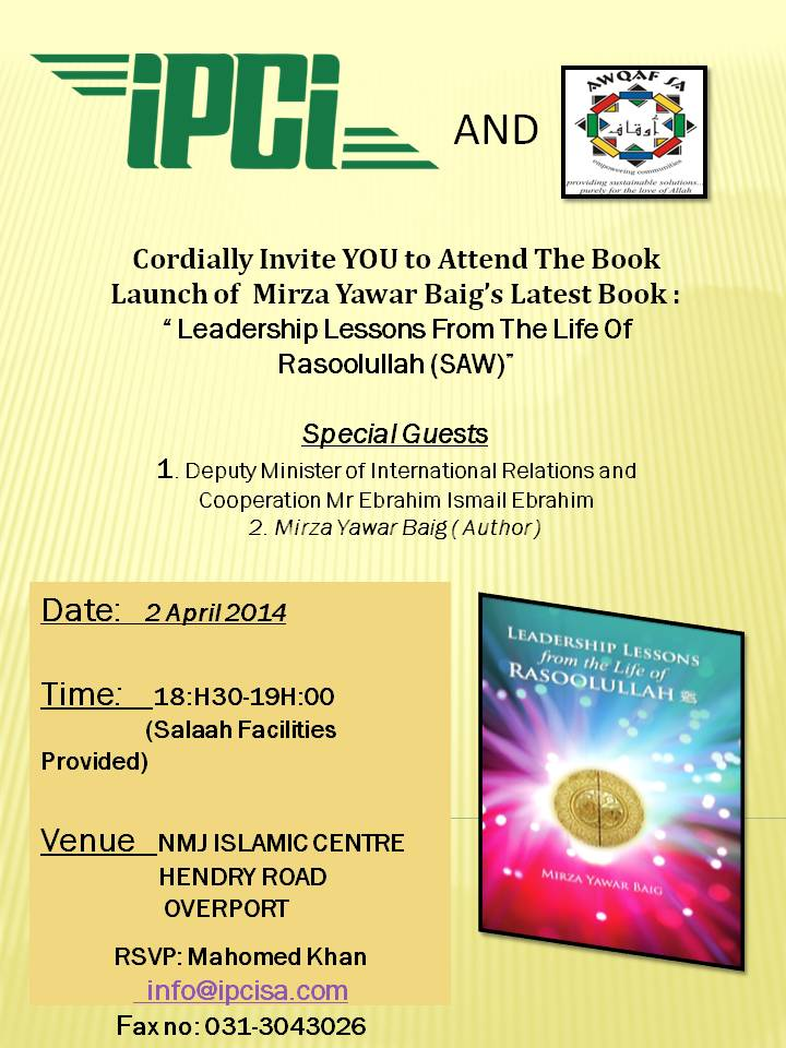 BookLaunch: Leadership Lessons from the Life of Rasoolullah SAWS