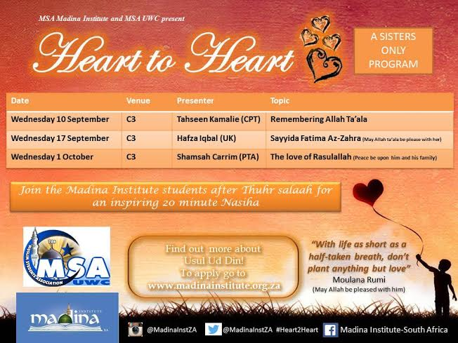 Madina Institute  UWC Heart to Heart  Sisters only program