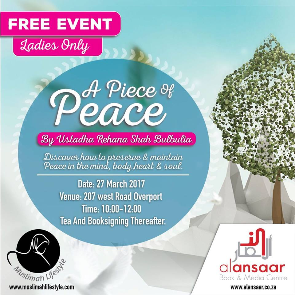 DBN : Free Workshop – A Piece of Peace